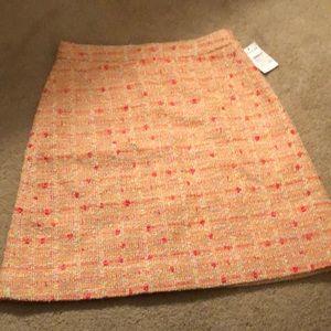 Kate Spade Orange Pink Tweed High Waisted Skirt